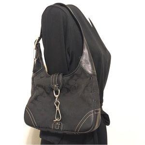 Coach Signature C Shoulder Bag Purse Black Canvas